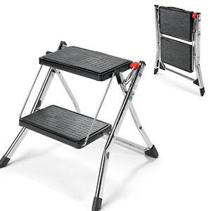 Image is loading 2-Step-Ladder-Stool-Polder-Slim-Line-Folding-  sc 1 st  eBay & 2-Step Ladder Stool Polder Slim Line Folding Steel Frame 102kg ... islam-shia.org