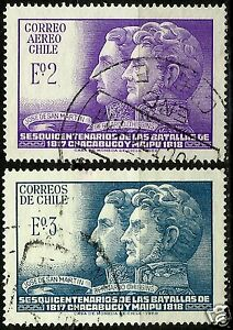 CHILE, 150th. ANNIV. BATTLES OF CHACABUCO AND MAIPÚ, COMPLETE SET