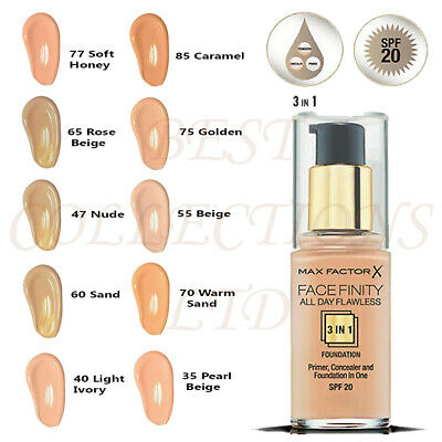 MAX FACTOR FACEFINITY ALL DAY FLAWLESS 3 IN 1 FOUNDATION 30ML- CHOOSE YOUR SHADE | eBay