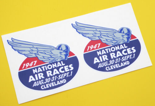 NATIONAL AIR RACES 1947 Retro Vintage style stickers decals 1 pair