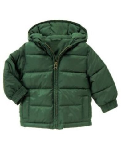 GYMBOREE SNOW CHILLIN/' GREEN HOODED PUFFER JACKET 6 12 24 2T 3T 4T 5T NWT