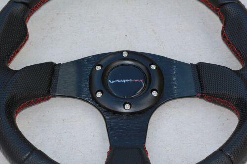 "12.5/"" Steering Wheel For Polaris RZR Can-am Maverick Blk// Black w//Red Stitching"