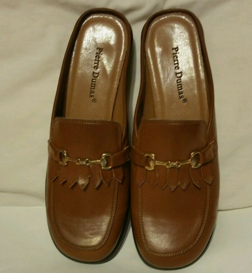 Pierre Dumas-7.5 M-Brown Leather Slides with Buckle on top