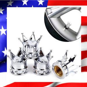 Lot-de-4-Bouchons-de-Valve-Couronne-Silver-Aluminium-Universel-Pneus-Auto-Moto