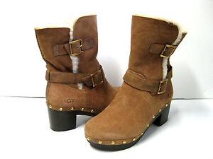 b1a1eb7eae5 Details about UGG BREA WOMEN WEDGE BOOTS SUEDE CHESTNUT US 6 /UK 4.5 /EU 37  /JP 23