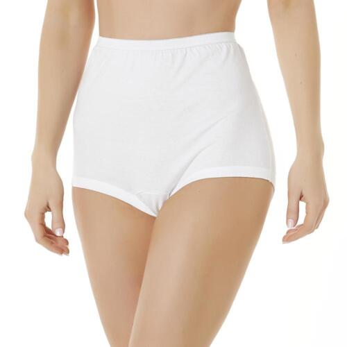 Fundamentals Women/'s 3-Pr Fuller Cut Cuff Leg Cotton White Briefs