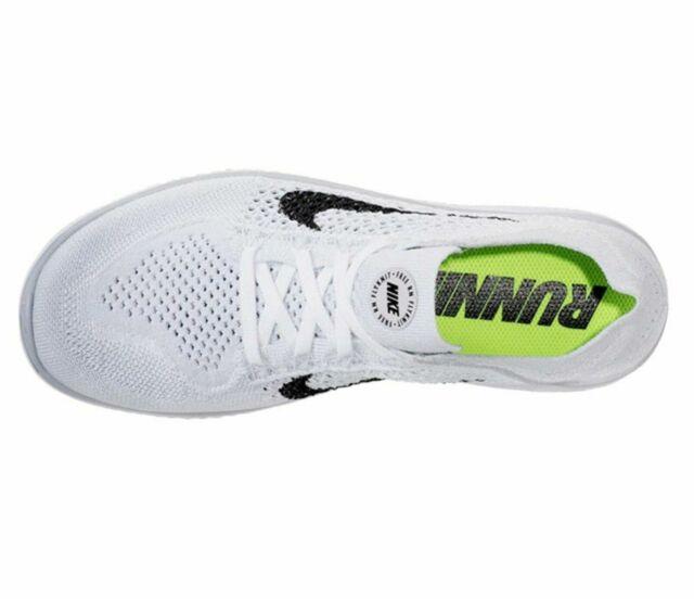 Nike Free Rn Flyknit 2018 Mens White Black Pure Platinum Gray 942838 100 sz 9