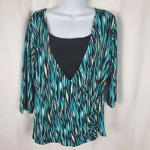 choices blouse top women's size 1x long sleeve mixedprint
