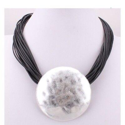 Modeschmuck Halsketten & Anhänger Kette Halskette Kurze Kette Halsband Lederbandkette Mit Grossem Rundem Anhänger