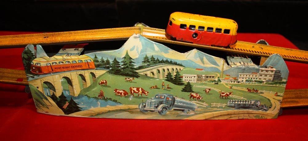 1946 Jouets Mont-blanco-Tren Expreso Tole, UACC, certificado de autenticidad, Juguete De Hojalata, clave, parte de la caja