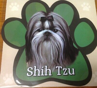 I LOVE MY SHIH TZUDog Paw Shaped Car Magnets Pink Scribble Paws