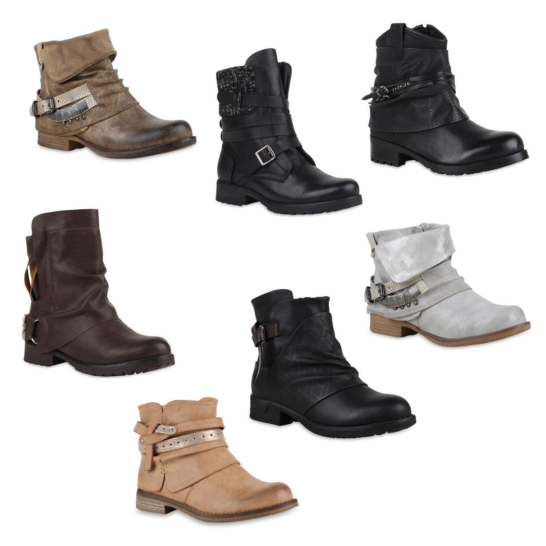 Damen Biker Boots Used Look Stiefeletten Nieten 891834 Schuhe