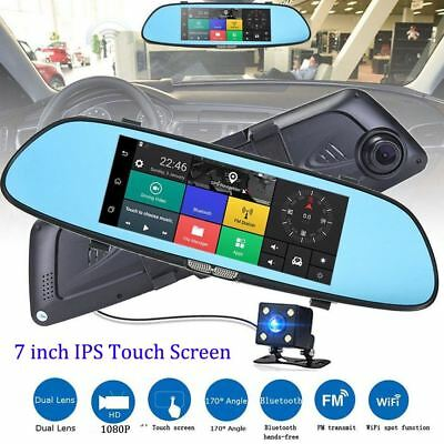 "7"" Auto Kamera Touch Screen Mirror Dashcam HD 1080P Rearview Dual Lens DVR Cam"