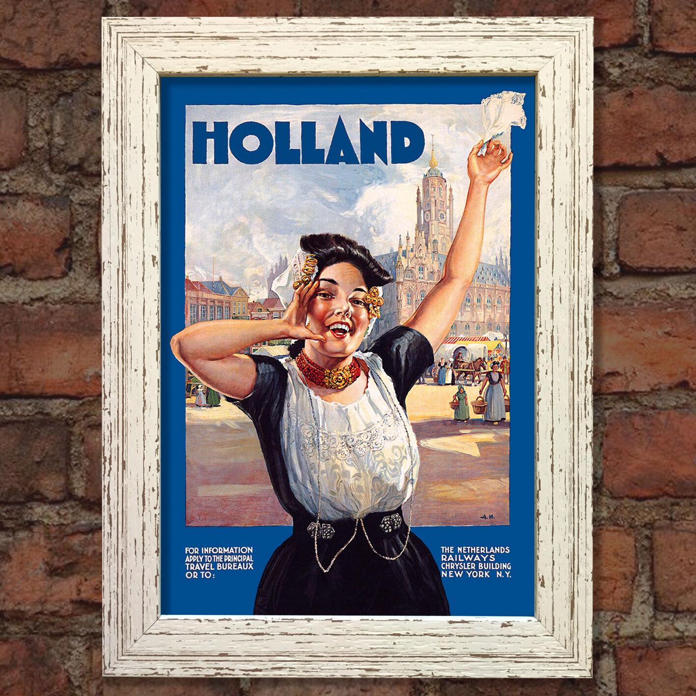 HOLLAND Vintage con Poster da Viaggio Viaggio Viaggio Nostalgico Casa Art Print Wall Decor  35 9bf948