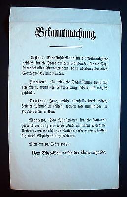 Clever Plakat Wiener Revolution Wien 1848 Kundmachung Nationalgarden Proklamation ( 9