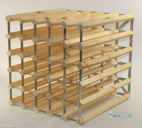 Double depth 60 bottle pine wood and metal wine rack ready to use