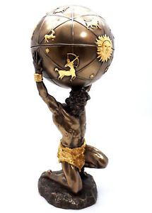 ATLAS TITAN Celestial Sphere Greek God Statue Sculpture Figure Bronze Finish
