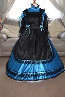 Amazing Long Blue Satin Adult Sissy Maids Dress With Black Apron Size Xxl