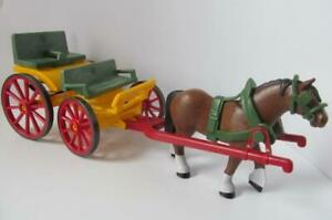 Playmobil-Farm-Western-Castle-cart-wagon-pulled-by-shire-horse-NEW