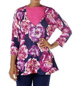 NEW Isaac Mizrahi Live! Floral Curved Hem Cardigan Sweater Size Large