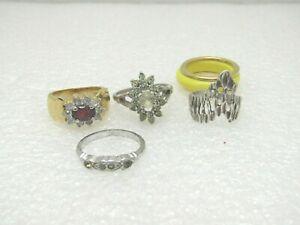 Vintage-5-Ring-Lot-Convertible-Rhinestone-1-Sterling-needs-repair-or-for-scra