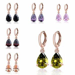Fashion-Jewelry-Lady-Elegant-Crystal-Cubic-Zirconia-Hoop-Drop-Dangle-Earrings