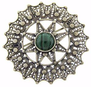 Filigree Brooch Pin Sterling Silver 925 Eilat stone Israel 60' Vintage handmade