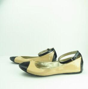 Steve-Madden-Women-Tan-amp-Black-Flats-with-Ankle-Strap-Size-8-5M
