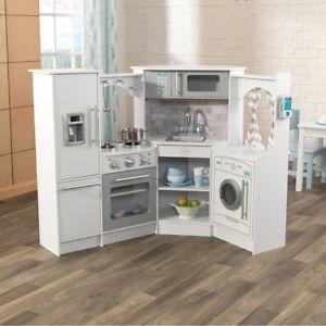 Details about Kids Xmas Gift Corner Play White Kitchen Set Lights & Sound  Children Fun Toy