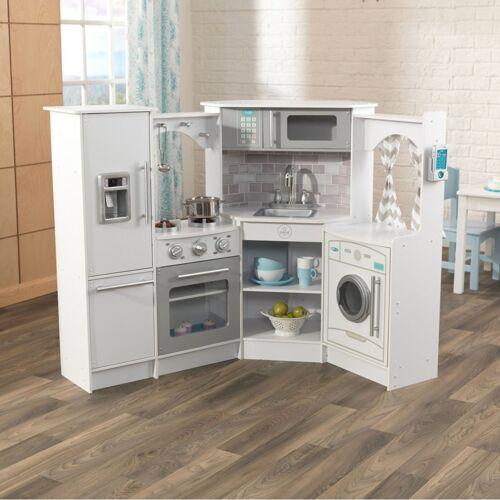 Kids Xmas Gift Corner Play White Kitchen Set Lights /& Sound Children Fun Toy