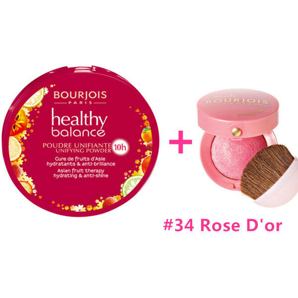 BOURJOIS Healthy Balance Compact Powder # 56 Light Bronze+ Blush #34 Rose D'or