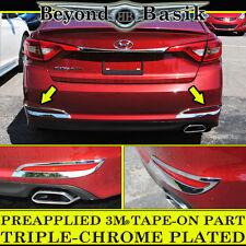 Fits 2015-2017 Hyundai SONATA Triple-Chrome Rear Tail Fog Light Lamp Trim Covers