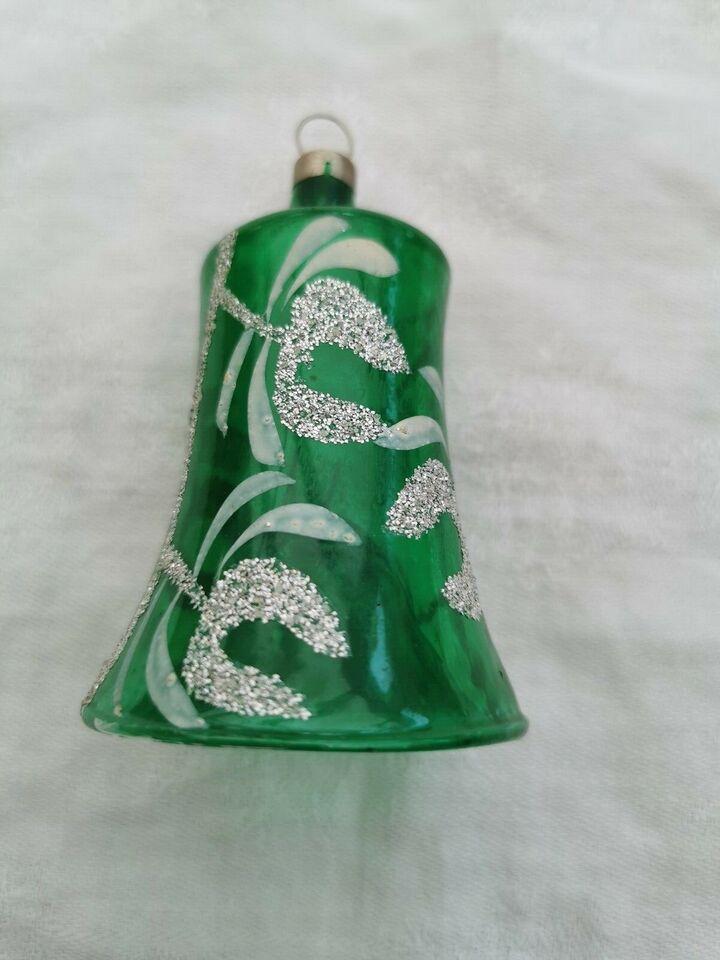 Antik tysk glas julepynt -klokke 75 kr.