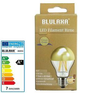 led filament kopfspiegellampe 7 watt gold verspiegelt e27 birne leucht lampe ebay. Black Bedroom Furniture Sets. Home Design Ideas