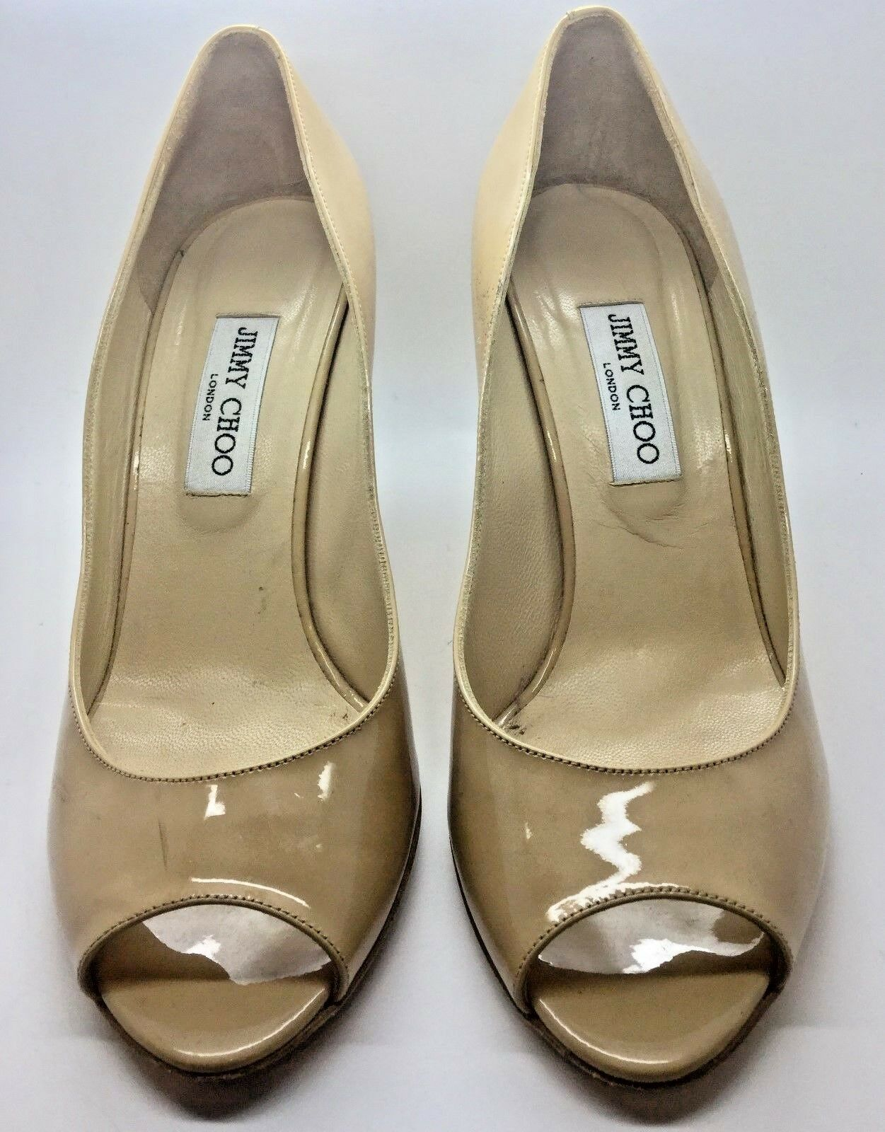 JIMMY CHOO Beige Tan Patent Leather gold Wedge Peep Toe Pump Size 40