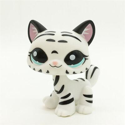 2 Lot Littlest Pet Shop LPS Figure Toys #2249 #1498 Black Cat /& White Tiger Cat