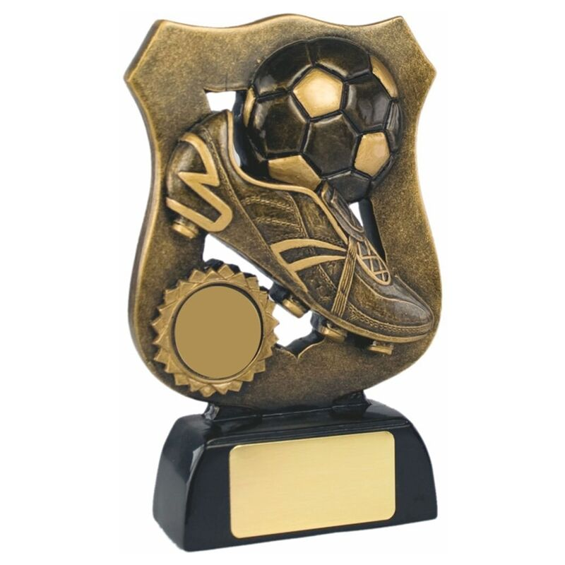 Personalised 17cm Antique gold Resin Football Shield Trophy Award Engraved Free