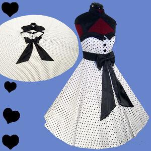 325ff721578 New White Black POLKA DOT Rockabilly Pinup 50s Dress S M L XL Party ...
