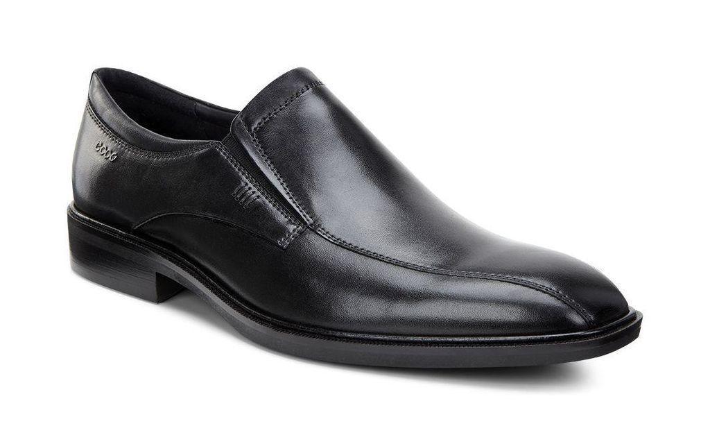 ECCO Men's 623024 Illinois Black Leather Comfort Slip On Walking Shoe