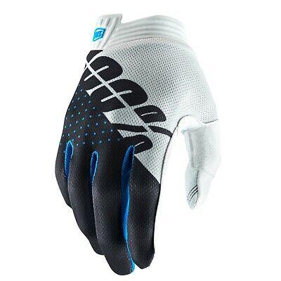 2019 100% Itrack Motocross Mx Bike Gloves - White / Steel / Gray Fijn Vakmanschap