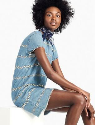 New Lucky Brand Denim Shift Dress Floral Honey Grove Womens