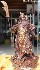 """15"""" Chinese Bronze Gilt Stand Dragon Guan Gong Yu Warrior God Guangong Statue"""