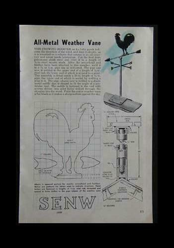 Rooster Weathervane 1959 How-To Build PLANS Sheet Metal