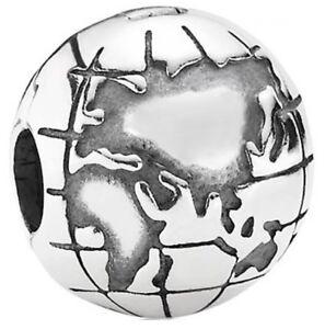 PANDORA-Genuine-Globe-Clip-Earth-World-Map-charm-Sterling-Silver-S925-ALE-791182