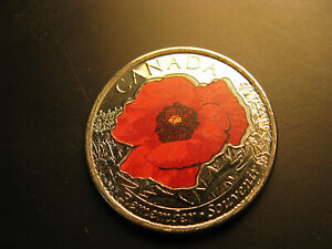 Canada-2015-Remembrance-Day-WWIII-Poppy-Coloured-25-Cent-Coin