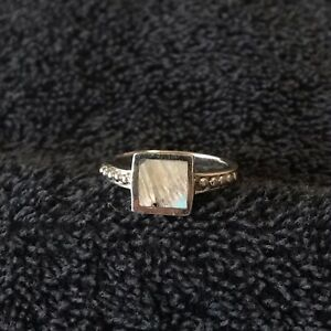 Sterling Silver 4 Grams Square Abalone Stone Thick Silver Frame Ring Size 8 Ebay