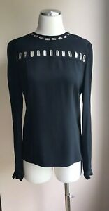 Beautiful-Andrew-GN-Collection-Black-Silk-Embellished-Top-Blouse-Size-FR-38