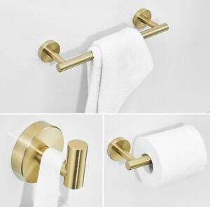 Details About Brushed Gold Bathroom Hardware Accessory Set Stainless Steel Toilet Paper Holder
