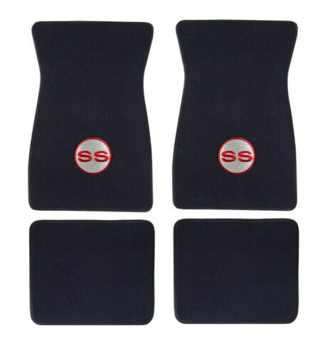 Camaro SS Embroidered LOGO Floor Mats Black Set of 4 Carpet Red//Silver NEW