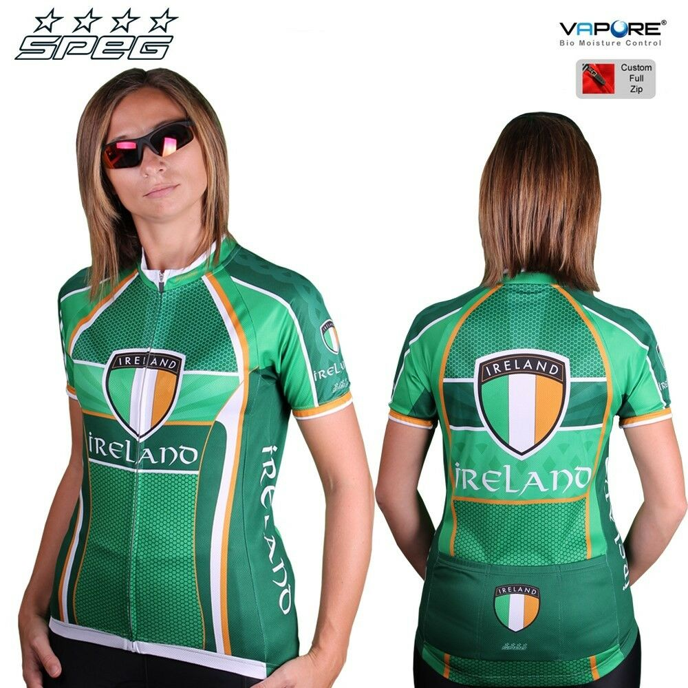 SPEG Ireland Damenschuhe Short Sleeve Cycling Jersey Full Zipper Vapore® 100% Vapore® Zipper Grün 881990